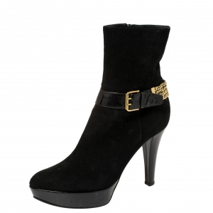 Casadei Black Suede Buckle Chain Embellished Ankle Boots Size 39 - used