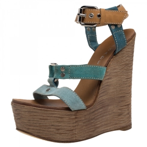 Casadei Blue/Tan Suede And Leather Platform Ankle Strap Sandals Size 37 - used