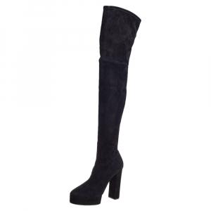 Casadei Black Suede Platform Thigh High Boots Size 39.5