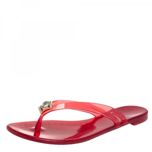 Casadei Red Jelly Crystal Embellished Thong Flat Sandals Size 40 - used