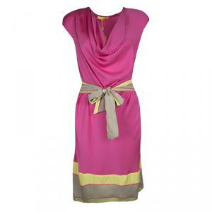 Catherine Malandrino Lotus Pink Silk Draped Belted Dress  M