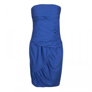 Catherine Malandrino Blue Silk Ruched Strapless Dress S