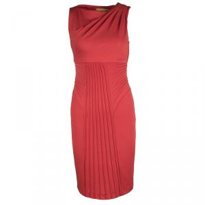 Catherine Malandrino Red Draped Pintuck Detail Sleeveless Dress XS