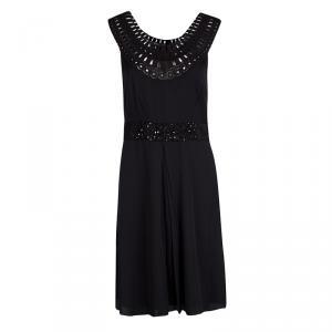 Catherine Malandrino Black Silk Lace Neck detail Embellished Belted Dress M used