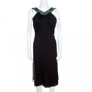 Malandrino Black Silk Plisse Bodice Detail Embellished Sleeveless A Line Dress M used