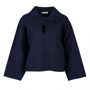 Celine Navy Blue Cotton Oversized Cropped Box Jacket S