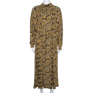 Celine Mustard Jersey Crepe Snake Print Maxi Dress M