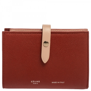 Celine Red/Light Pink Grained Leather Multifunction Strap Wallet