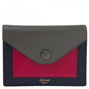 Celine Tri Color Leather Envelope Pocket Card Holder