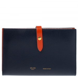 Celine Navy Blue/Orange Leather Large Multifunction Strap Wallet
