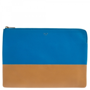 Celine Blue/Brown Leather Solo Clutch