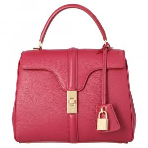 Celine Red Satinated Calfskin Leather Small 16 Bag