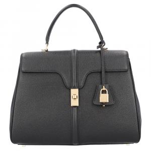 Celine Black Satinated Calfskin Leather 16 Medium Bag