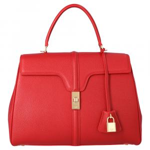 Celine Red Satinated Calfskin Leather 16 Medium Bag
