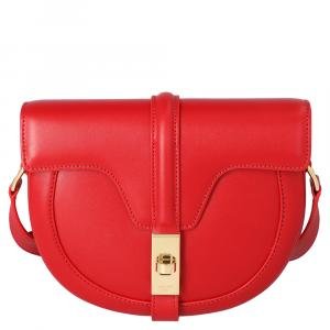 Celine Red Satinated Calfskin Leather 16 Small Bag