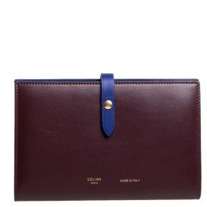 Celine Maroon/Blue Leather Large Multifunction Strap Wallet