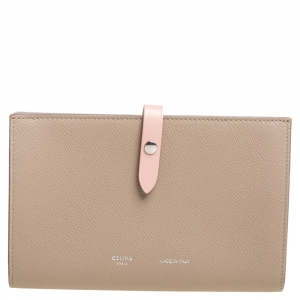 Celine Beige/Pink Leather Large Multifunction Strap Wallet