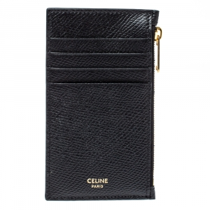 Celine Black Grained Leather Zipped Compact Card Holder