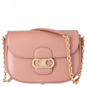 Celine Pink Leather Medium Chaine Maillon Triomphe Bag