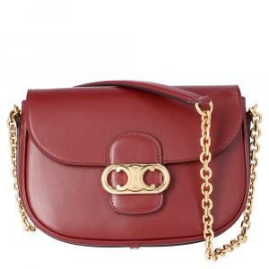 Celine Burgandy Leather Medium Chaine Maillon Triomphe Bag