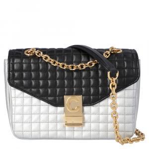 حقيبة سيلين مزينة حرف سي متوسطة جلد عجل مبطن أبيض و أسود