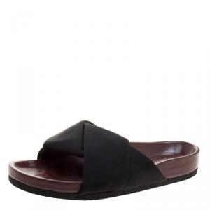 Celine Black Satin Twist Flat Slides Size 38