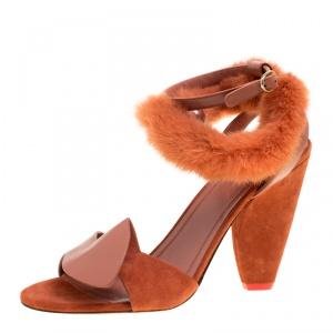 Cèline Brown Leather and Mink Fur Bracelet Peep Toe Sandals Size 38.5