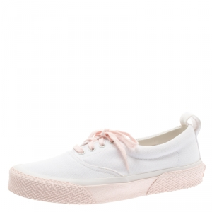 Celine White/Pink Canvas 180 degree Sneakers Size 39