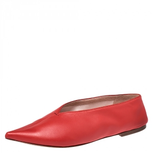 Celine Red Leather Pointed Toe Flats Size 38