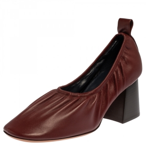 Celine Burgundy Leather Scrunch Block Heel Pumps Size 39