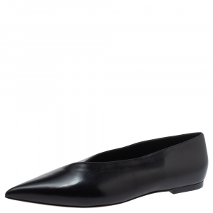 Celine Black Leather V Neck Ballet Flats Size 39