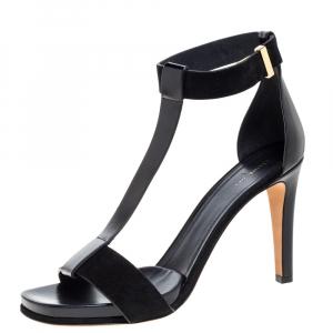 Celine Black Leather and Suede T Strap Platform Sandals Size 40