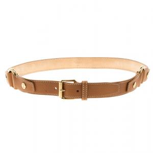 Celine Brown Leather Ring Belt 95cm