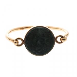 Celine Green Stone Coin Gold Tone Bracelet M