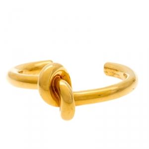 Céline Gold Tone Thick Knot Open Cuff Bracelet