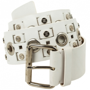 Celine White Leather Logo Studded Belt 89 CM