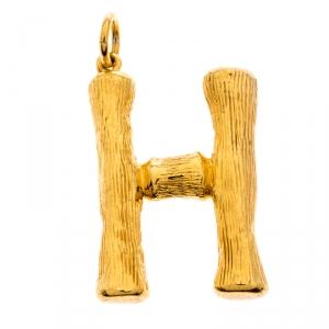 Celine Alphabet 'H' Textured Gold Tone Pendant
