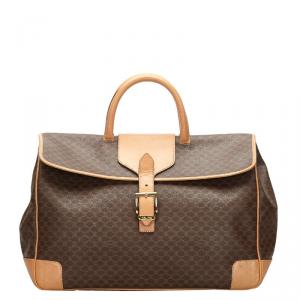Celine Brown/Dark Brown Macadam Canvas Travel Bag