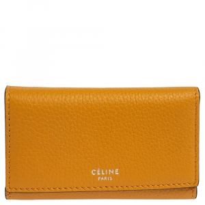 Celine Mustard Grained Leather Flap Key Case