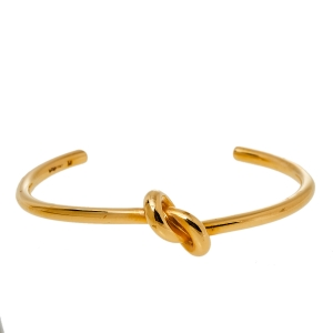 Céline Gold Tone Extra Thin Open Knot Bracelet M