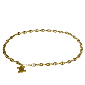 Celine Aged Gold Tone Logo Charm Chain Belt