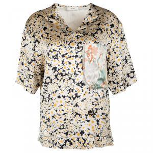 Celine Multicolor Floral Printed Silk Contrast Pocket Detail Top M