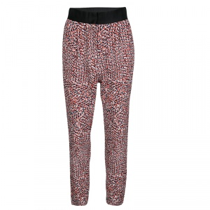 Celine Multicolor Dotted Textured Stretch Silk Pants S