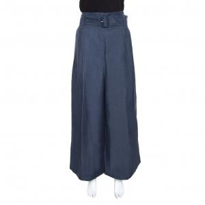 Celine Blue Linen High Waist Belted Flared Culottes L