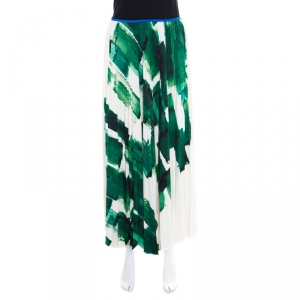 Celine Cream and Green Brushstroke Printed Silk Plisse Midi Skirt M