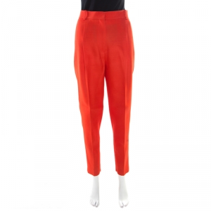 Celine Red Silk and Wool High Waist Tapered Trousers M