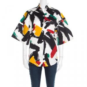 Celine White Cotton Multicolor Brush Stroke Print Short Sleeve Shirt S