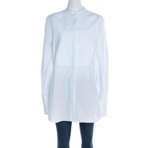 Celine Light Blue Cotton Band Collar Oversized Masculine Tuxedo Shirt M