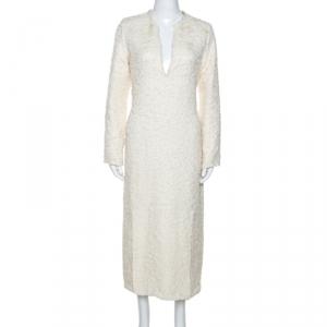 Celine Cream Wool  Blend V Neck Midi Dress L