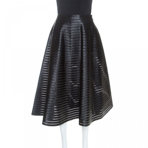 Celine Black Ribbon Striped Satin and Sheer Flared Midi Skirt S